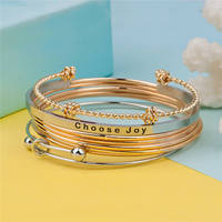 DoreenBeads Boho Stainless Steel Stacking Bangle Bracelet Beach Jewelry Gold Color Silver Color Love Knot Spiral
