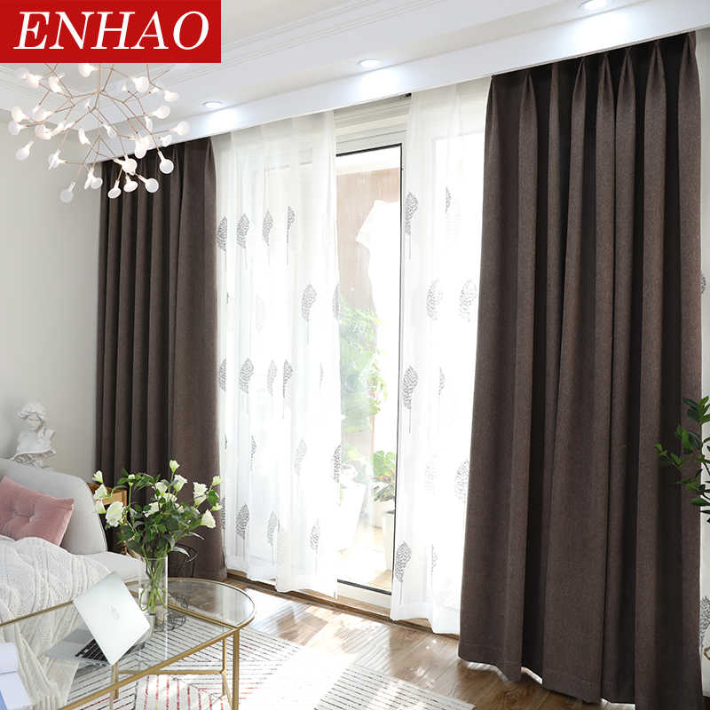 ENHAO Modern Blackout Curtains for Living Room Bedroom Simplicity Solid Cloth Window Blackout Curtains for Window Drapes Blinds