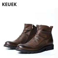 British style Vintage Men Chelsea boots Genuine leather Comfortable Outdoor tooling boots Male shoes Ankle Martin boots 02A