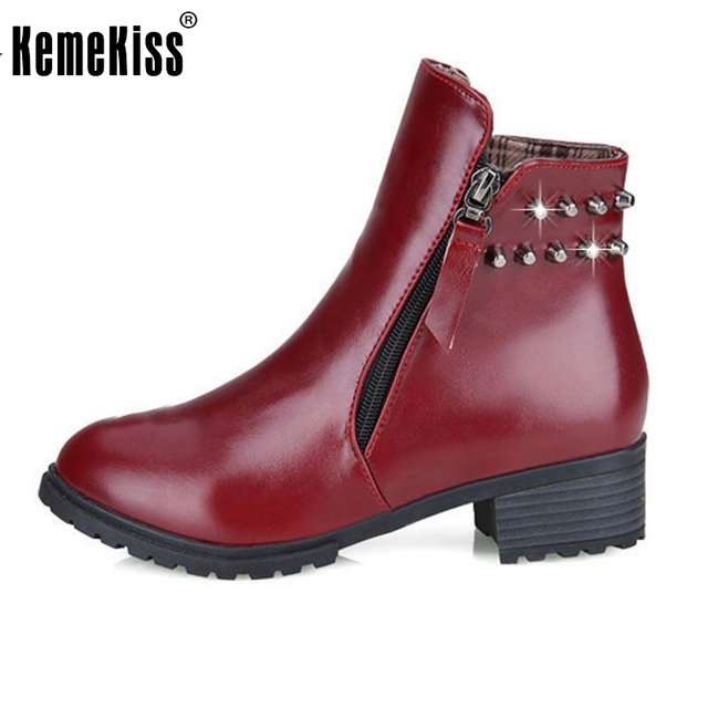 Women's Fashion Zipper Rivet Low Heel Winter Ankle Boots