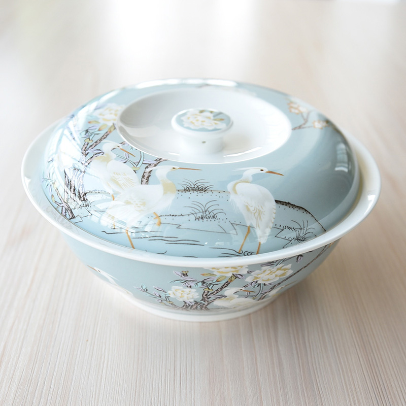 Boutique European Hand Painted White Crane Bone China Dishes Tableware Rice Bowl with Lid Soup Basin Large Noodles Big Food Dish
