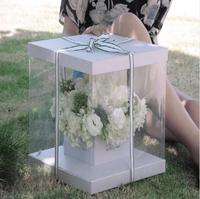 Clear Square PVC Transparent Hand Flower Box Packaging Bouquet Gift Boxes for Wedding Favor Birthday Party Valentine's Day
