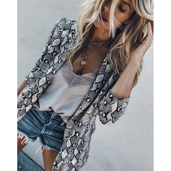 2018 Women England Style Snake Print Blazer Pockets Notched Collar Long Sleeve Coat Female Outerwear