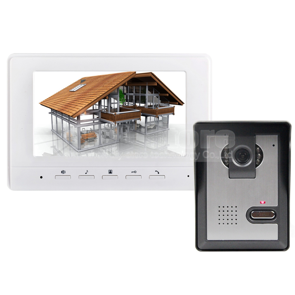 bilder für DIYSECUR 7 zoll Video-gegensprechanlage Video-türsprech 1 Kamera 1 Monitor für Home/Office Security System