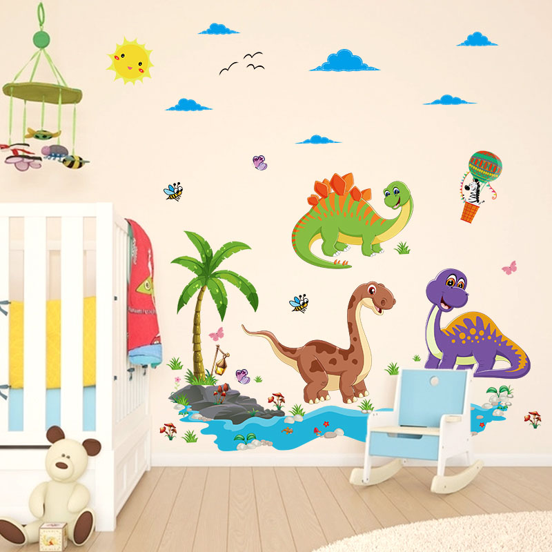 [Fundecor] cartoon Dinosaur Paradise wall stickers for kids rooms nursery children decals murals diy home decoration Adhesive