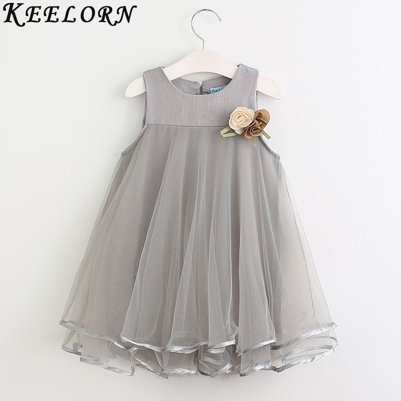 Keeorn Girls Dress 2018 Summer New Girls Dresses O-Neck Sleeveless Vest Dress Voile Princess Dress Baby Girl Clothes 3-7Y