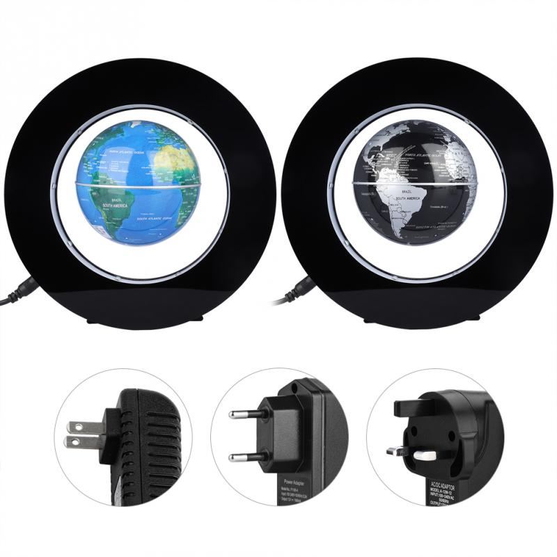 Electronic Round Magnetic Levitation Floating World map Globe with LED Light School Office Supply Home DecorElectronic Round Magnetic Levitation Floating World map Globe with LED Light School Office Supply Home Decor