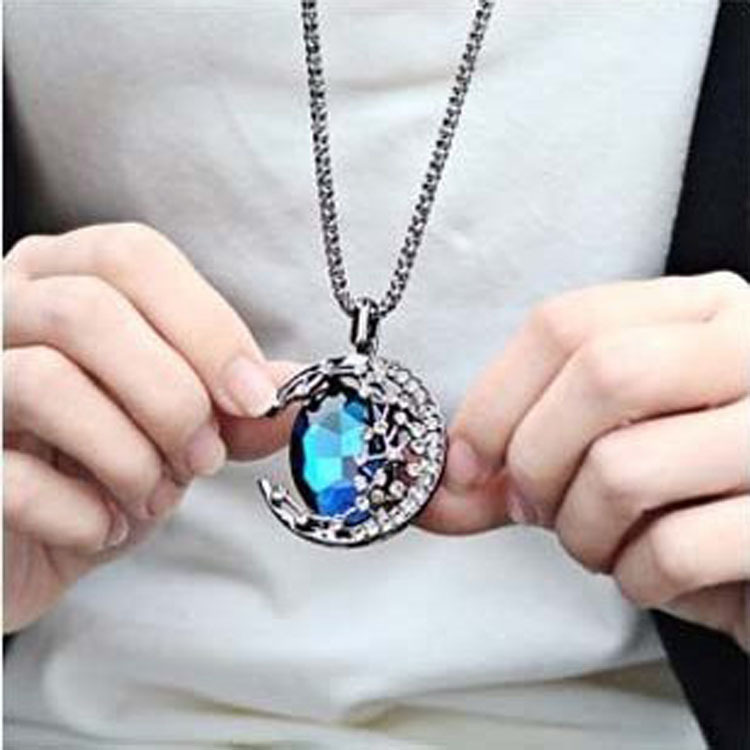 Gem moon curved long necklace female vampire diaries the same gem moon curved long necklace female vampire diaries the same paragraph of the month of the star sweater chain z3006 in pendant necklaces from jewelry mozeypictures Choice Image