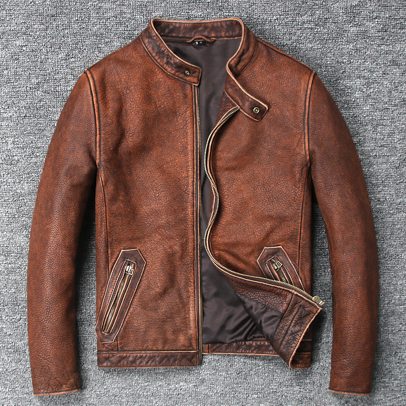 be54c59e9 US $198.0 |2018 men's vintage cow leather jacket stand collar wash do old  leather coat men brown color simple style biker jacket for male-in Genuine  ...