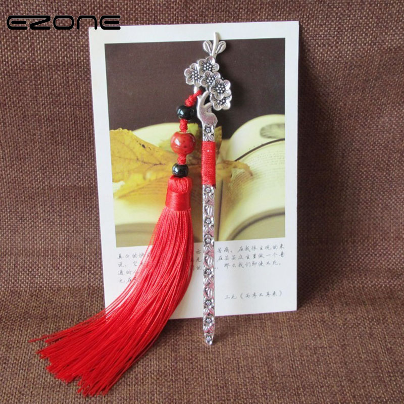 EZONE 1PC Chinese Vintage Style Bookmarks Metal Bookmark With Colorful Tassel Gift For Friends Antique Metal Bookmark Stationery