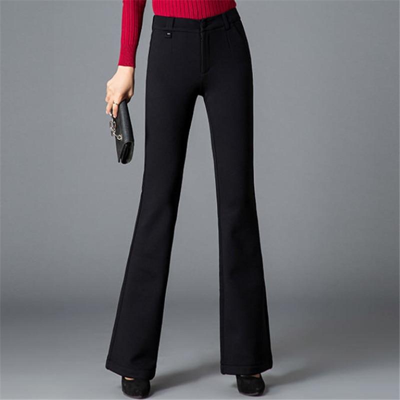 Pantalones Engrosamiento Más Alta Ol Sólido Pants Otoño Elegante Ds50218 Tamaño De Flare Black Femeninos Cintura Moda Casual Color Mujeres Invierno wxt7PqpS