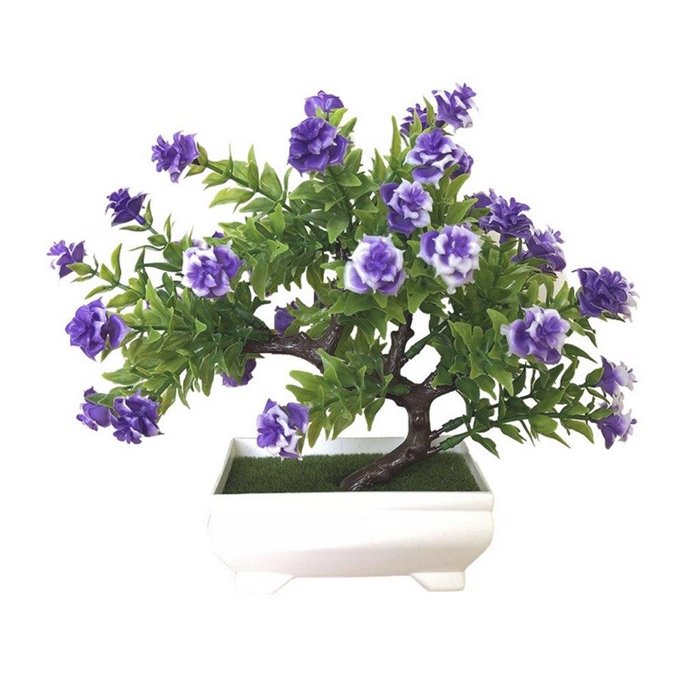 Искусственное растение Моделирование бонсай из цветов горшечный орнамент Настольный подарок Красивая мода домашний декор розы украшение дома - Цвет: purple blue