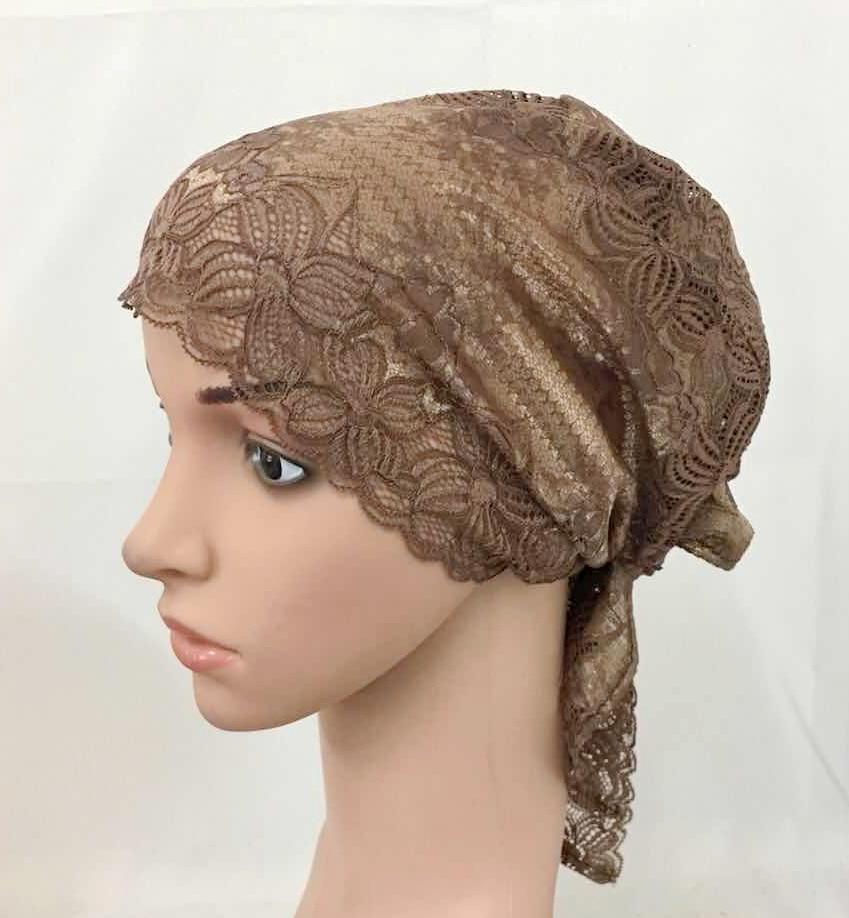 12 PCS Fashion Women Muslim Inner Cap  Lace Flower Hijab Islamic Headwear   Hat Wraps 6