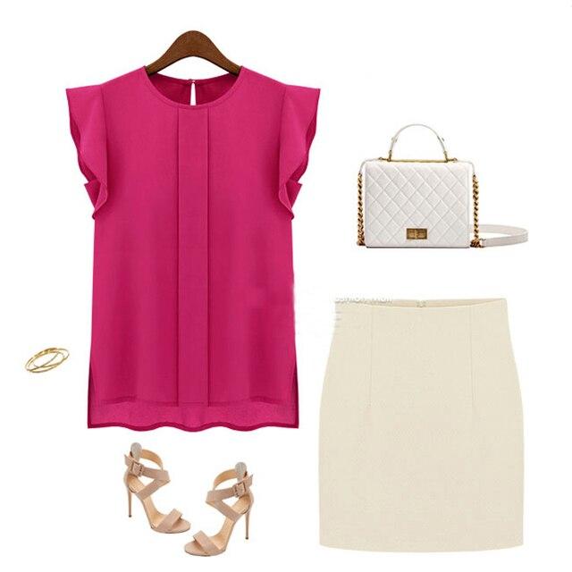 Women Summer Elegant Blouse Office Lady Solid Short Sleeve Chiffon Shirt Ruffle Top 6