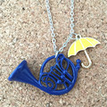 Freeshipping 20pc a lot HIMYM How I Met Your Mother Yellow Umbrella  mother Blue French Horn Necklace UNMUU02