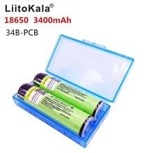 2 ชิ้น/ล็อตใหม่ LiitoKala 18650 NCR18650B Li   Ion แบบชาร์จไฟได้แบตเตอรี่ 3400 มิลลิแอมป์ชั่วโมง PCB จัดส่งฟรี
