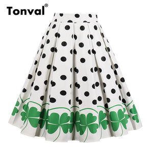 Image 2 - Tonval High Waist Floral Pleated Skirts Womens Summer Red Rose Flower Women Vintage Skirt Midi Plus Size 4XL Skirts