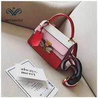 Лидер продаж Сращивание Сумки на плечо Для женщин сумка 3-цвет бренд Би замок Дизайн сумки Crossbody сумка Повседневное сумка Бесплатная доставк...