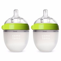 Silicone Baby Bottle Green/Pink 5 oz and 8 oz Baby Bottles 2 Pack BPA free bottle children
