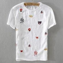 New trend summer men short sleeve t-shirt linen white fashion loose t shirts embroidery stitching tshirt male camiseta M-3XL