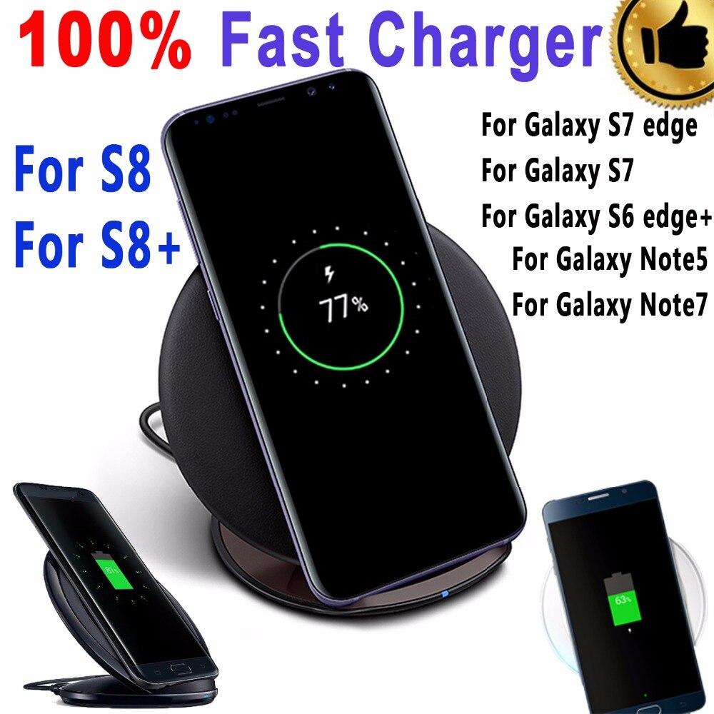 imágenes para 100% Original Qi Wireless Pad Cargador Rápido Real Para Samsung Galaxy S6 Borde borde Más S7 S7 S8 S8 + Plus Nota 5 7 Inalámbrico cargador