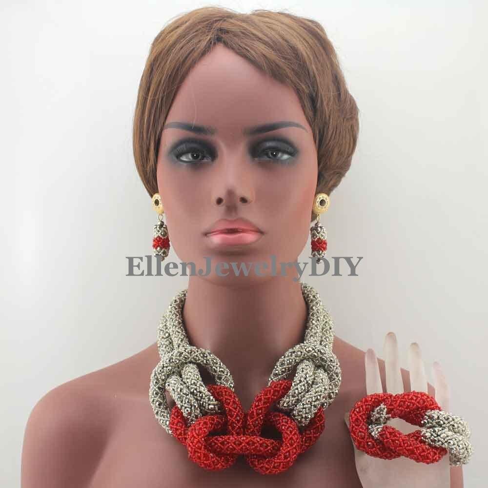 Élégant nouveau bijoux de perles africaines ensemble de perles de cristal argent/rouge ensemble de bijoux de perles de mariée mariage nigérian W13137