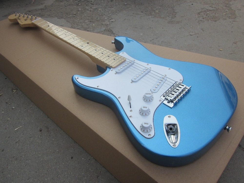 Free shipping wholsale hot guitarra st guitarra/ blue color left hand electric guitar/guitar in china vegas left hand natural color acoustic electric guitar free bag free shipping