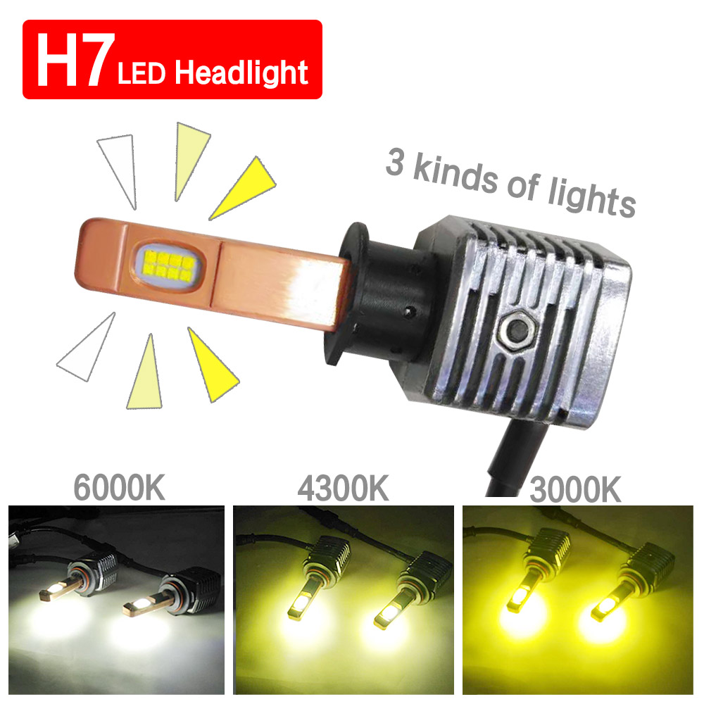 H7 LED 60W 1 Pair Three colors 3000K 4300K 6000K Modified cars Light Bulb Headlight Bulb 12V 9005 9006 H11 H8 H1 H3 9012 Auto купить