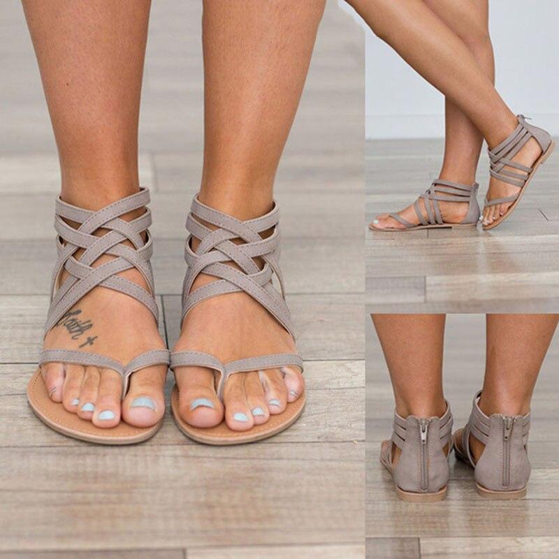 Mujeres sandalias moda sandalias de gladiador para mujer verano playa zapatos mujer Roma estilo sandalias tamaño 34-43 casual sandalias