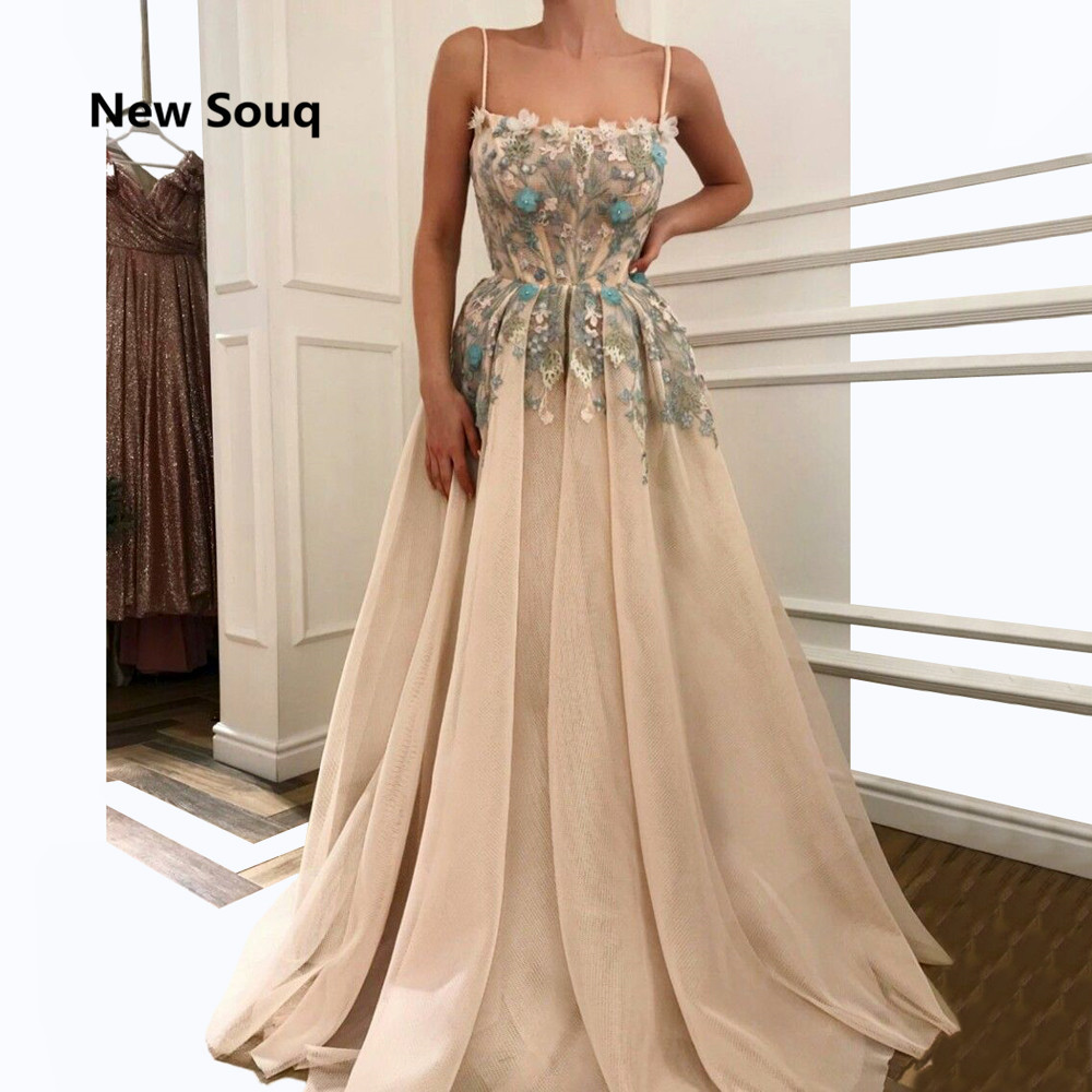 Champagne Tulle Applique A-Line Evening Dresses Sexy Spaghetti Floor Length Long Prom Dress Elegant Mother Of The Bride Dress