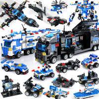 Blocos da polícia da cidade compatível legoinglys bloco da cidade veículo carro helicóptero blocos de construção playmobil diy tijolo brinquedos para crianças