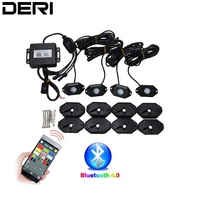 4pcs Set RGB LED Rock Light With Cree Chips Under Car Led Light Bluetooth For Automobile Offroad ATV SUV 4WD car styling