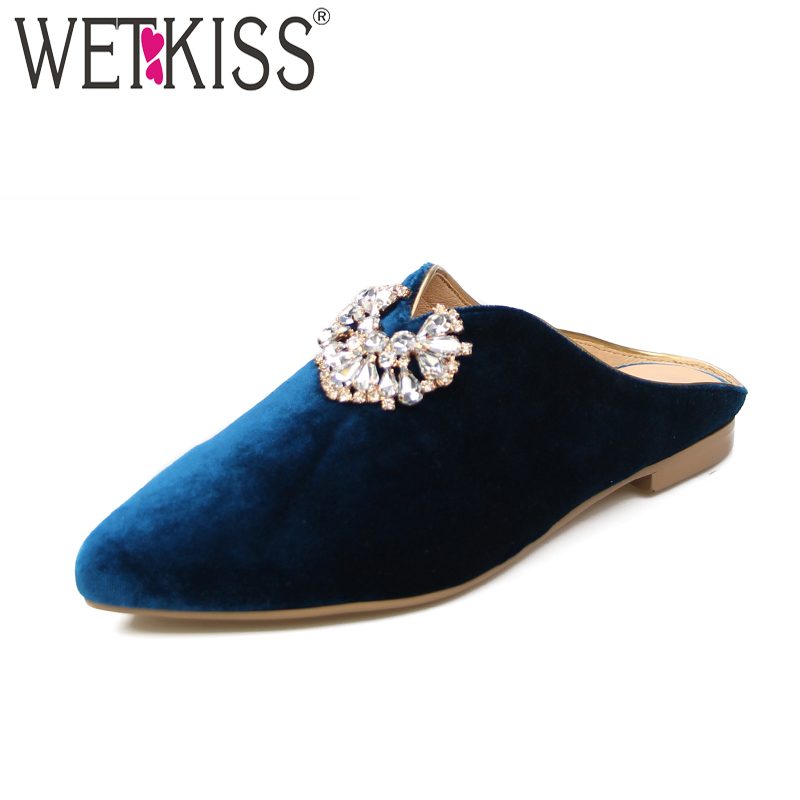 WETKISS 2018 New Velvet Ladies Flats Pointed Toe Crystal Footwear Summer Fashion Casual Slip On Handmade Women Mules Shoes yiqitazer 2017 new summer slipony lofer womens shoes flats nice ladies dress pointed toe narrow casual shoes women loafers
