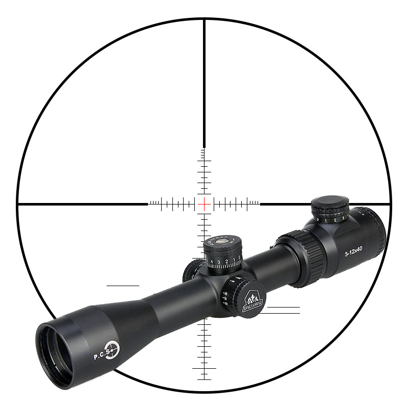 Canis Latrans Illuminated Reticle Hunting Riflescope TR 3-12x40 Rifle Optic Scope Lens Black Color For Outdoor PP1-0286