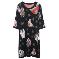 SRUILEE Cute Angel Jacquard Dress 2018 New Autumn Jumper Women Dress Animal and Flower Sparkle Knit Dress Winter Vestido Runway
