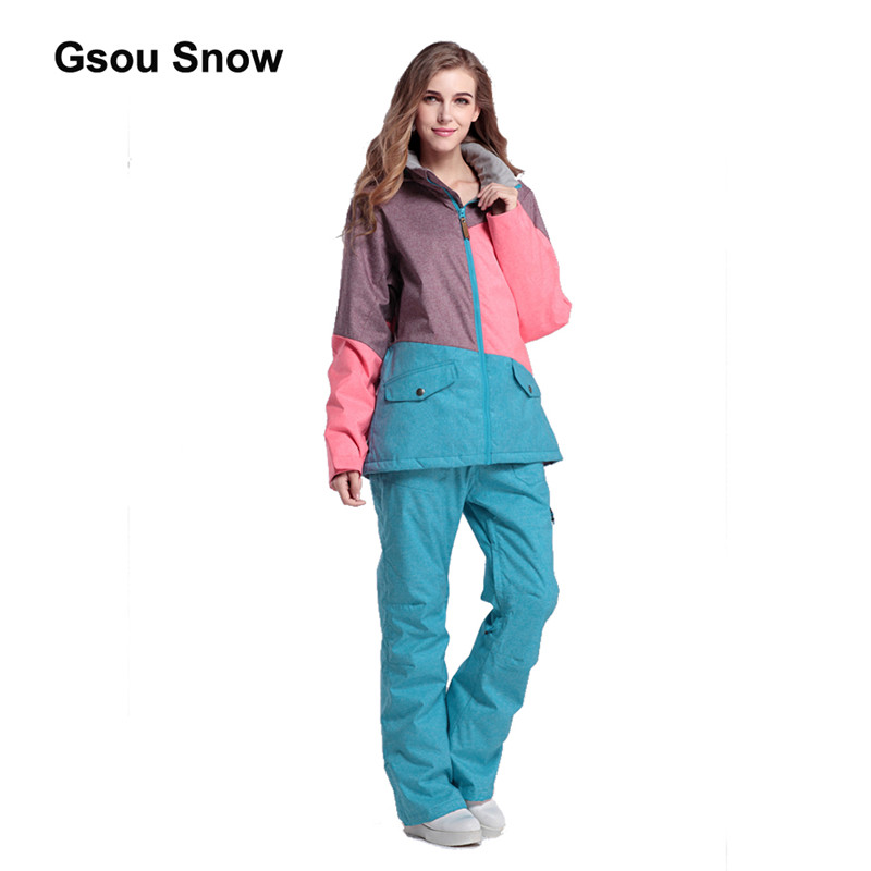 Gsou Snow Patchwork  Women Ski Suit Waterproof Snowboard Winter Sport Jacket Windproof Warm full suit 1404-1420 free shipping the new 2017 gsou snow ski suit man windproof and waterproof breathable double plate warm winter ski clothes