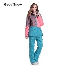 Gsou Snow Patchwork Women Ski Suit Waterproof Snowboard Winter Sport Jacket Windproof Warm full suit 1404