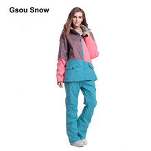 Gsou Snow Patchwork Women Ski Suit Waterproof Snowboard Winter Sport Jacket Windproof Warm full suit 1404-1420