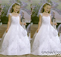 Новое поступление принцесса старинные белый / кот первое причастие детские платья для свадьбы день рождения элегантные кружевные аппликации платья