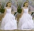 Recién llegado de princesa vintage blanco / marfil satinado de la comunión vestidos para cumpleaños boda elegante del cordón de los appliques vestidos