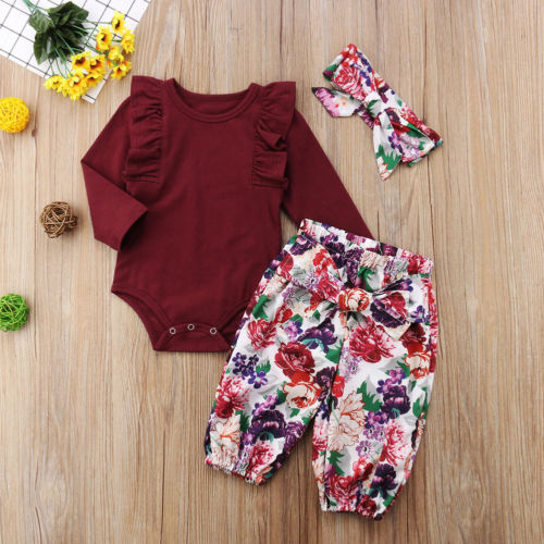 Baby Christmas Sets Newborn Infant Baby Girls Clothes Daddy Little Girls Printed Romper Tops Floral Long Pants Headbands Outfits in Clothing Sets from Mother Kids