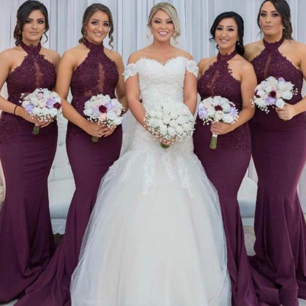 lace bridesmaid dresses 2020 halter neckline lace appliques burgundy wedding guest dresses wine red party dresses for wedding(China)
