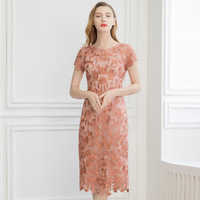 Sexy Embroidery Pencil Bodycon Sequin Dress Lace Summer Midi Dresses Party Pink Vestidos Korean Women Elegant Office za Dress