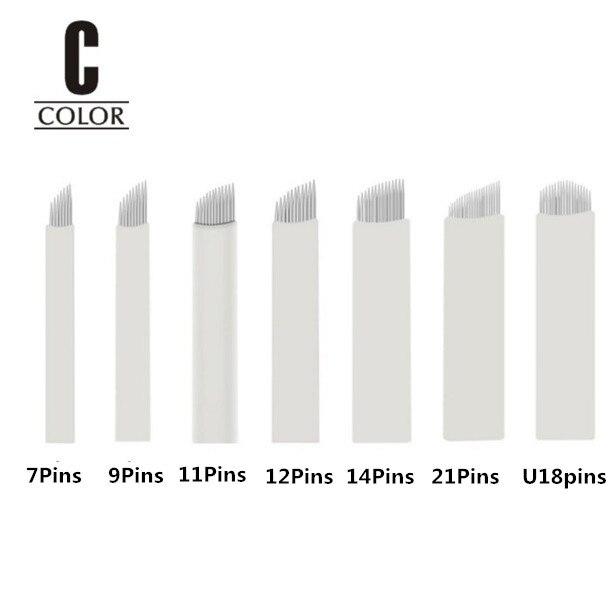 50pcs High Quality White 7/9/11/12/14/21/u Needles Permanent Makeup Blades Manual Eyebrow Tattoo Needles Blade Tattoo Needles