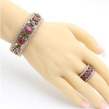 цена Ethnic Women Resin Carve Bangle Ring Turkish Bride Modelling Concise Vintage Jewelry Round Cuff Bracelet Arabia Wide Ring в интернет-магазинах