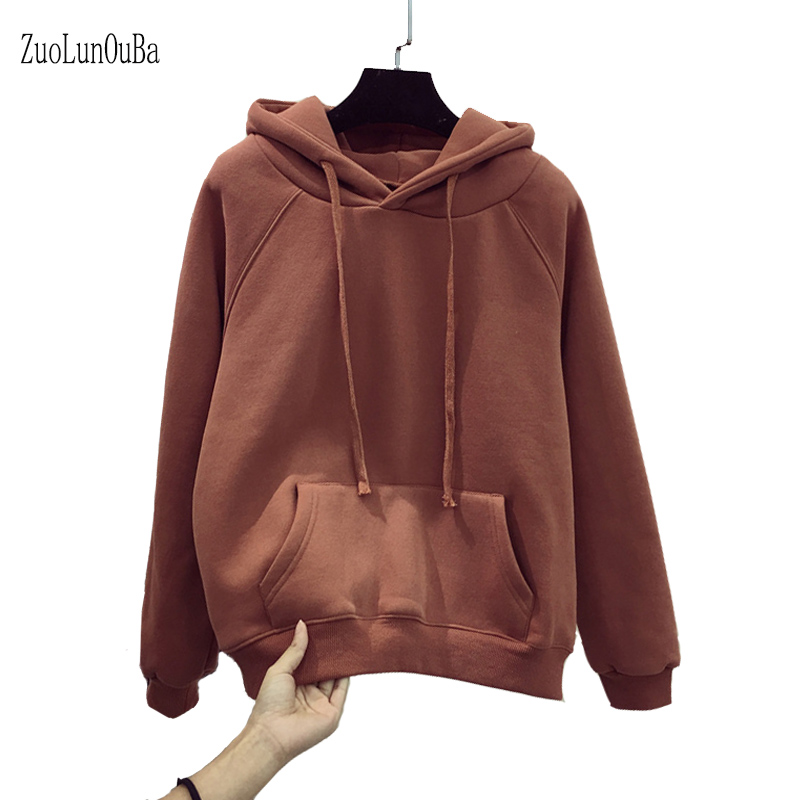Zuolunouba 2019 Autumn Winter Korean Women Solid Color Hoodies Fleece Harajuku Long-sleeved Loose Pullovers Ladies Sweatshirt