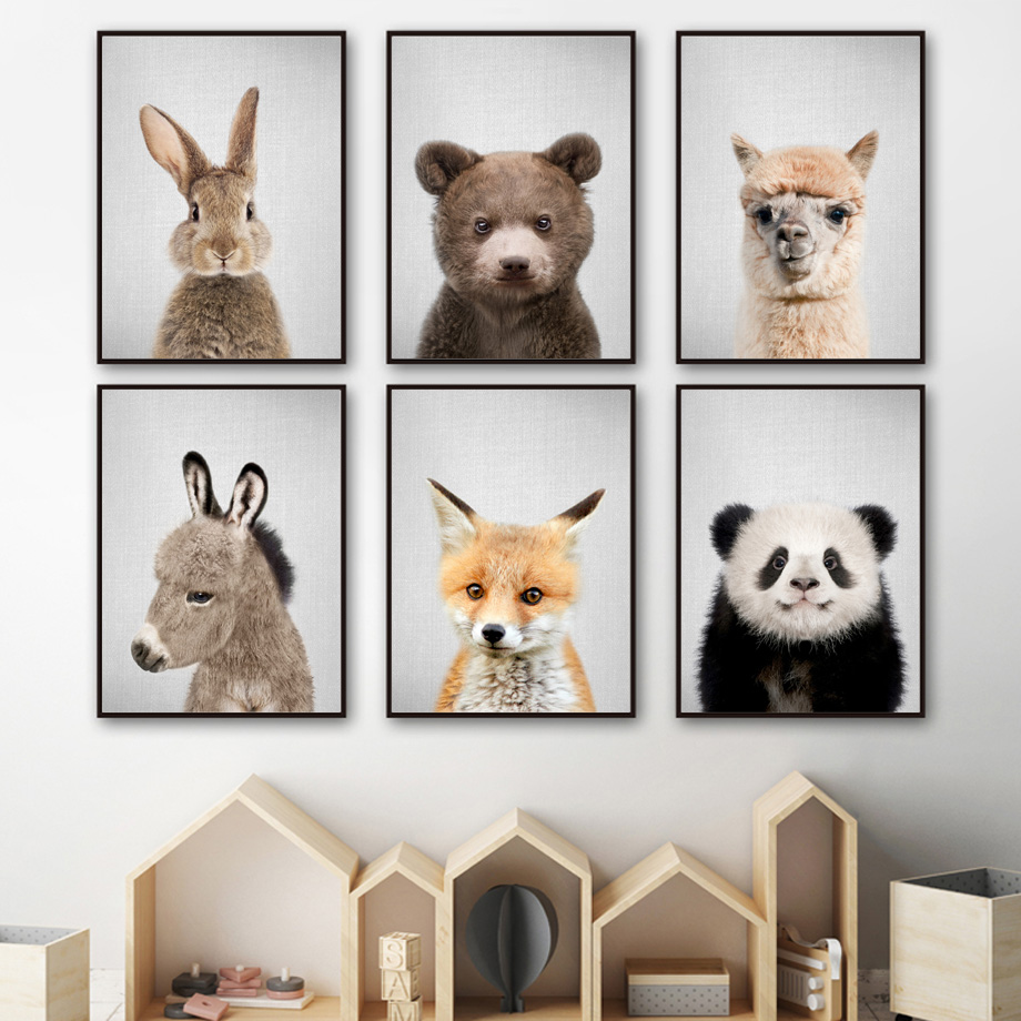Best Price  Rabbit Fox Bear Llama Panda Donkey Nordic Posters And Prints Nursery Wall Art Canvas Painting Wall