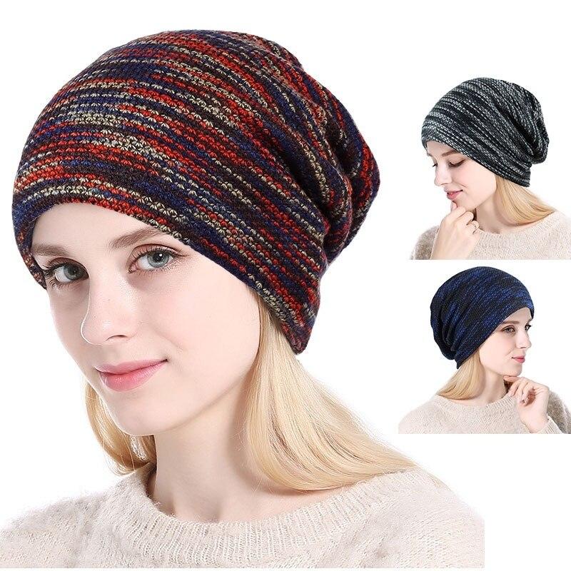 Women Men Winter Windproof Warm Ski Snowboard Snowboarding Hat Sports Hiking Skiing Bibs Knit Wool Hats Baggy Slouchy Beanie Cap