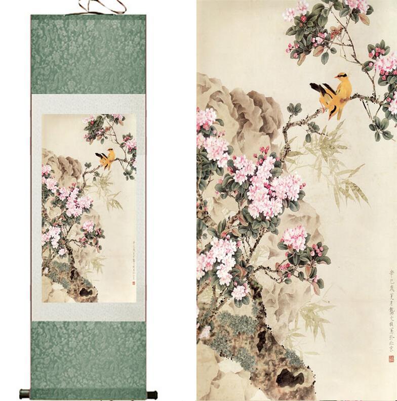 Hagyományos selyem művészet festés madarak és virágok - Lakberendezés