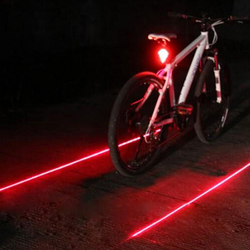 Bicycle led tail light safety warning light 5 led 2 laser red night mountain bike rear
